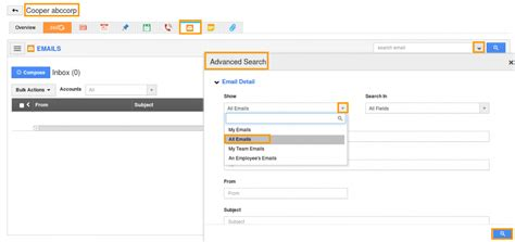 Search Email Access View Subordinates Emails