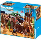 Western Grand Fort Des Soldats Americains  Playmobil Cowboys Et