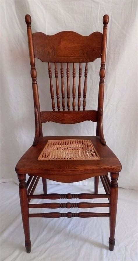 Antique Oak Dining Chair Antique Oak Wood Chair Press Back Ornate Seat Dining Ebay