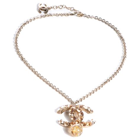 chanel beaded necklace chanel large cc beaded drop necklace gold 70043