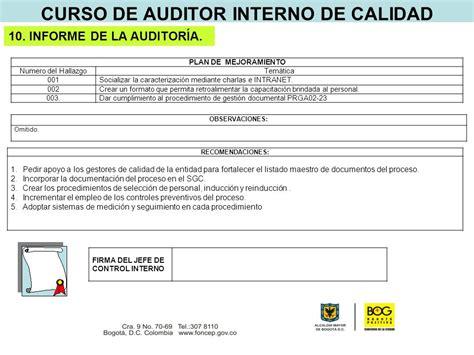 Modelo Curriculum Auditor Interno curso de auditor interno de calidad ppt descargar