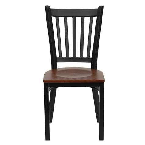 Black Restaurant Chairs by Hercules Black Vertical Back Metal Restaurant Chair With
