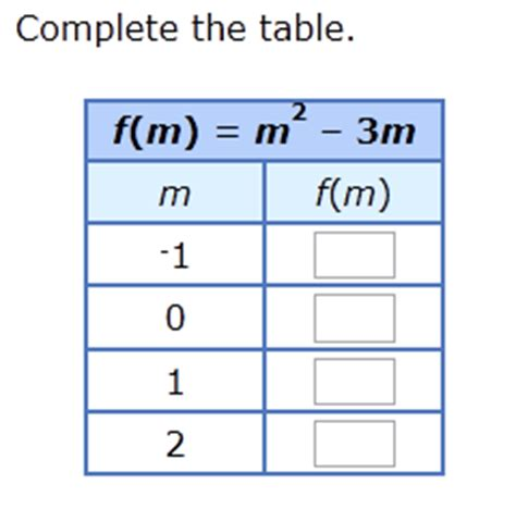 complete the function table ixl complete a function table quadratic functions
