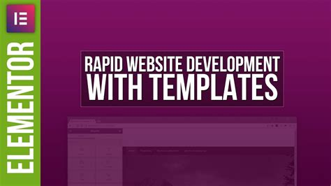 Rapid Website Design With Elementor Templates Youtube Free Elementor Templates