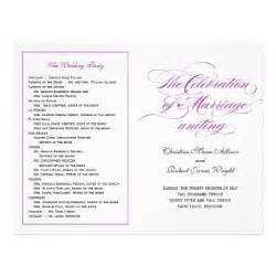 Elegant script wedding program purple flyer design zazzle