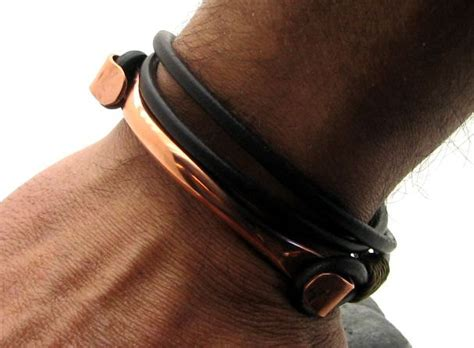 Handmade Mens Leather Cuff Bracelets - handmade brown leather bracelet with copper clasp