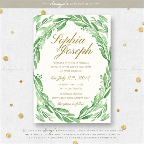 Leaf Themed Wedding Invitations by Greenery Green Leaves Wedding Invitation Set Eucalyptus