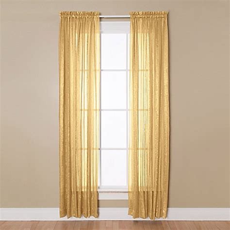 Sheer Gold Curtains Buy 84 Inch Rod Pocket Sheer Window Curtain Panel In Gold From Bed Bath Beyond