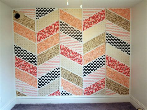 Patchwork Wall - stenciled herringbone patchwork wall reality daydream