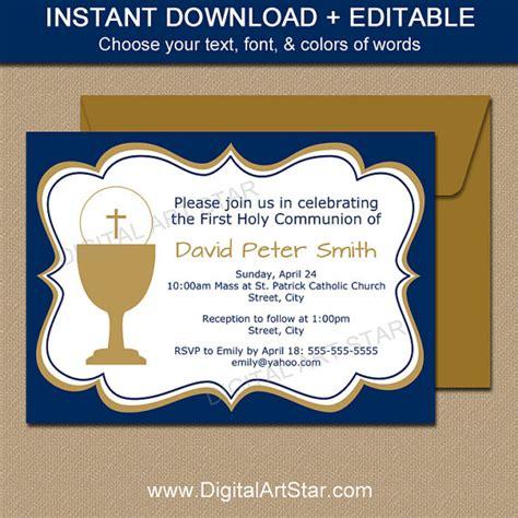 communion invitation template editable navy gold