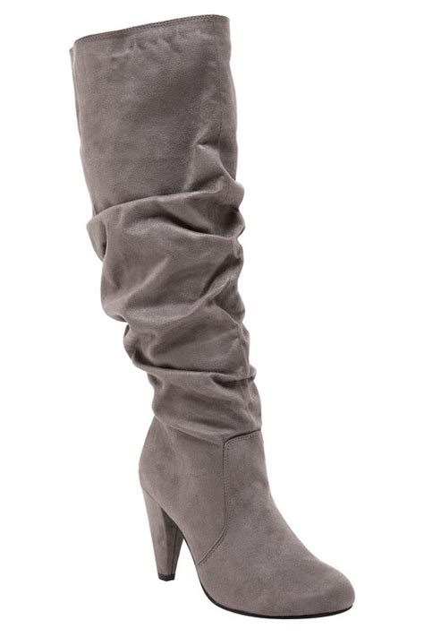 sally grey knee high suede boots shoe fly