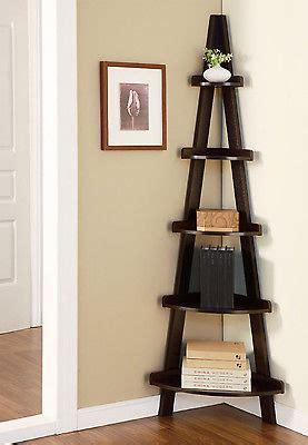 Rustic Ladder Bookcase Corner Shelf Stand Display Storage Ladder Unit 5 Shelves