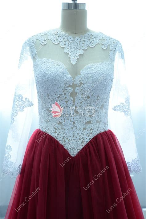 Gorgeous White Lace and Wine Tulle Illusion Long Sleeve