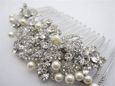 pearl and crystal hair comb pearl bridal comb bridal hair comb crystal and pearl