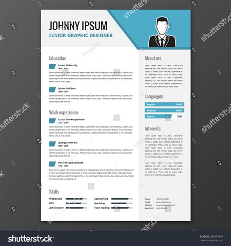 Cv Template Unemployed cv resume template vector graphic layout stock vector