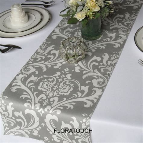 grey and white table runner traditions gray and white damask table runner wedding