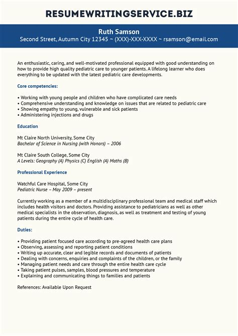 pediatric nurse resume sample resume writing service