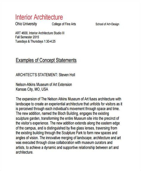 How To Write A Concept Statement For Interior Design by 8 Concept Statement Exles Sles