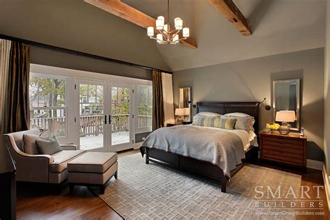 custom bedroom contemporary craftsman style custom home master bedroom suite hardwood floors exposed beam