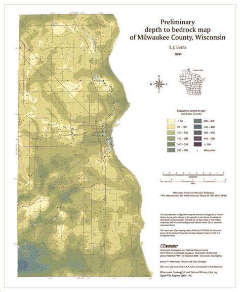 Milwaukee County Search Wisconsin Geological History Survey 187 Preliminary Bedrock Geology Of