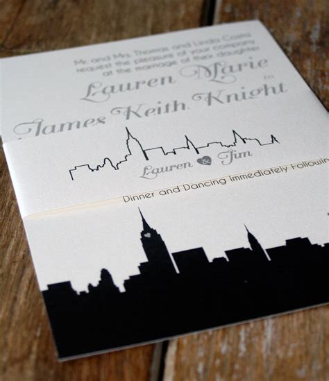 City Themed Wedding Invitations by Modern Wedding Invitation New York Wedding Invitations