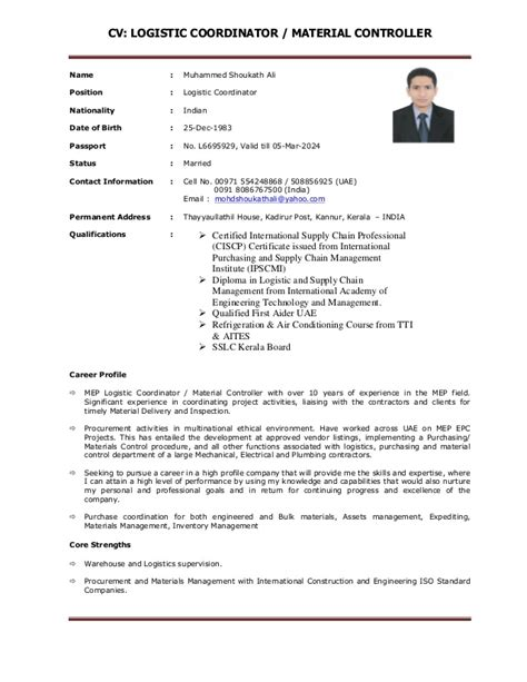 Material Controller Sle Resume by Cv Logistic Coordinator Material Controller 1