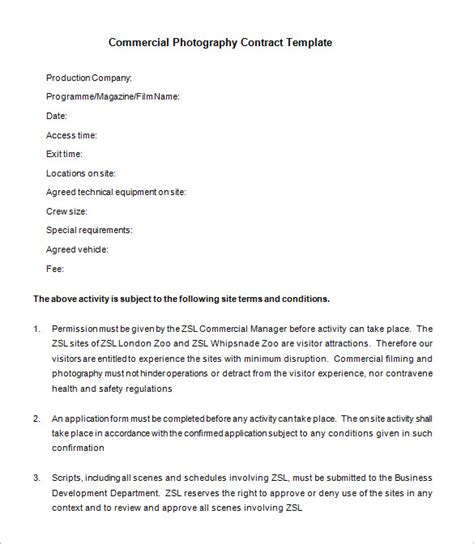 product photography contract template 9 commercial photography contract templates free word