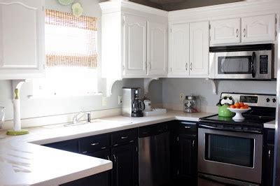 kitchen cabinets white top black bottom sweet something designs kitchen facelift reveal