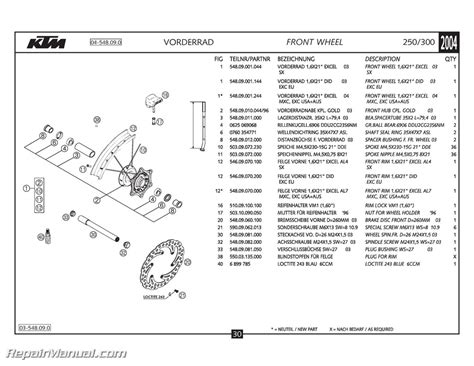 Ktm Spare Parts Catalog 2004 Ktm 250 300 Sx Mxc Exc Chassis Spare Parts Manual
