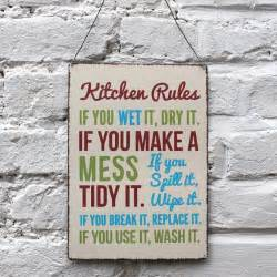 Home kitchen rules metal sign