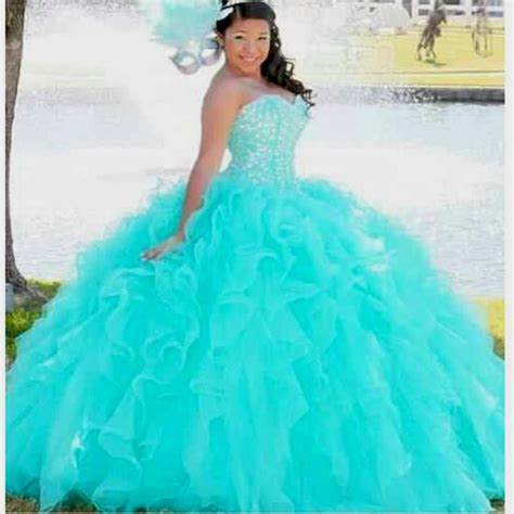 turquoise puffy quinceanera dresses naf dresses