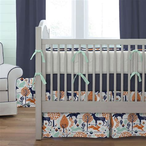 woodland animals baby bedding navy and orange woodland animals crib skirt box pleat