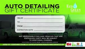 Car Wash Coupon Template by Gift Certificates Ecogreen Mobile Detailing