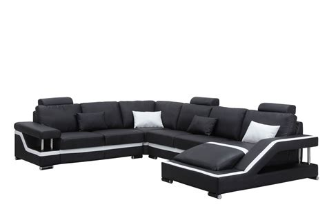 Black Leather Sectional Sofa 3814 Modern Black Leather Sectional Sofa