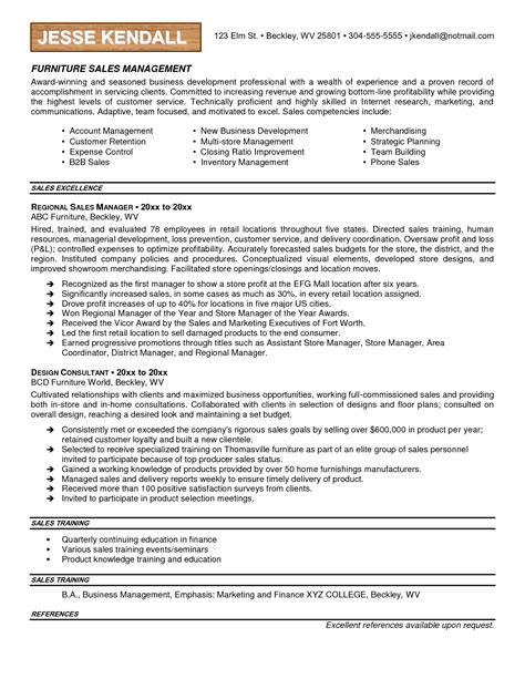 resume letter sle for furniture sales resume exles search resumes