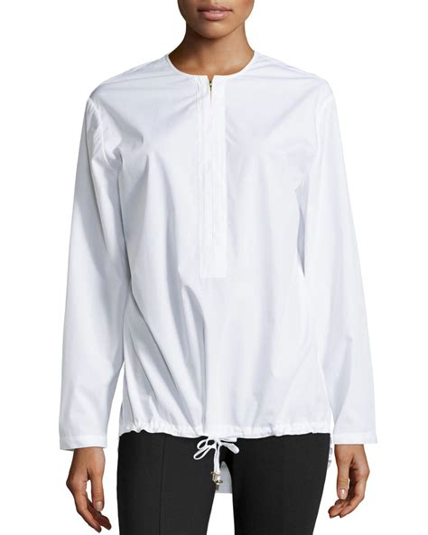 sleeve drawstring shirt heritage sleeve drawstring hem shirt in white