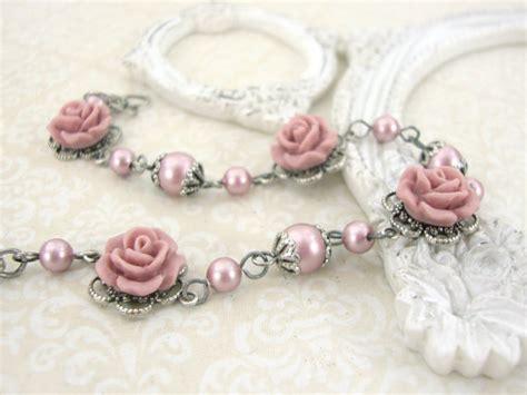 powder pink swarovski pearl bracelet with resin roses