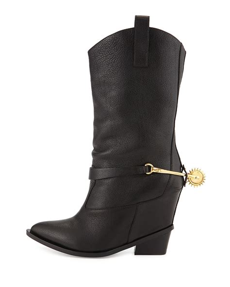 giuseppe zanotti high heel boot w cowboy detail in black