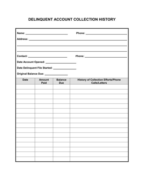 document history template collection history for delinquent account template