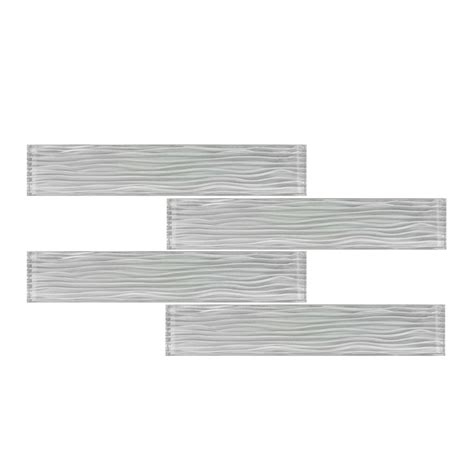 10sf white wave texture subway glass mosaic tile