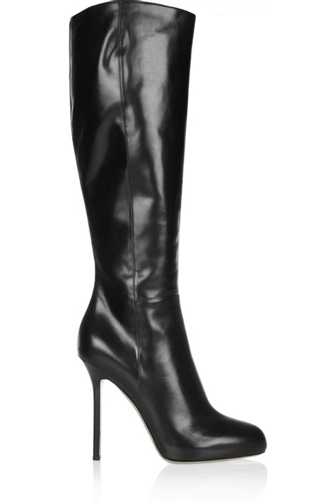 sergio black leather boots in black lyst