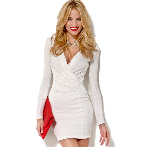 V Neck Bodycon Basic Mini Dress E40021 White v neck bodycon dress sleeve one mini office dress underslip white