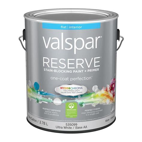 shop valspar reserve ultra white base aa flat interior paint and primer in one actual net