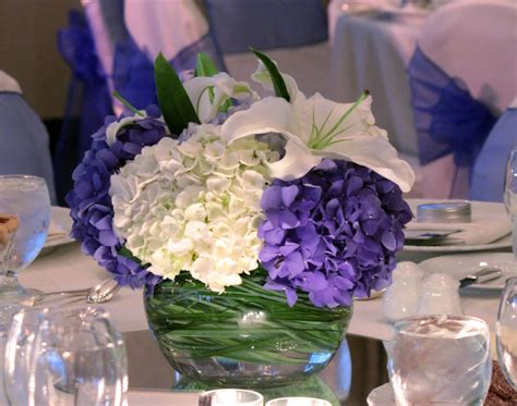 wedding centerpieces blue and lavender deep blue wedding
