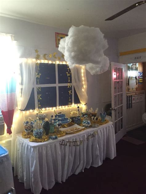 twinkle twinkle  star baby shower candy table  hanging light  clouds