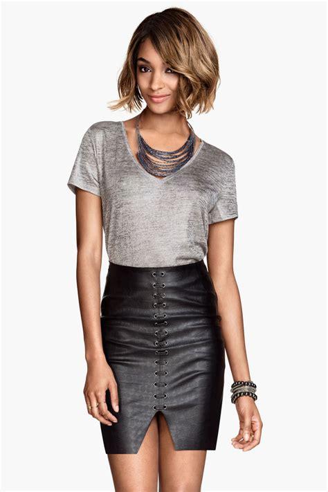 20609 Black S M Sale Leather Skirt imitation leather skirt black sale h m us