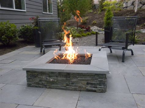 square stone fire pit patio contemporary with dimensional