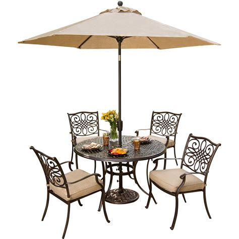 patio set umbrella hanover traditions 5 pc dining set of 4 aluminum cast