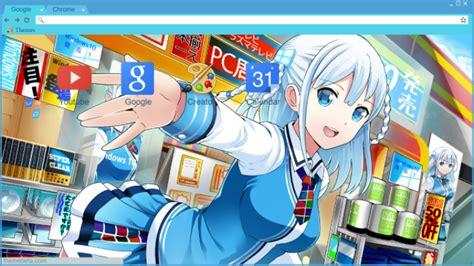 themes beta anime touko madobe windows 10 mascot chrome theme themebeta