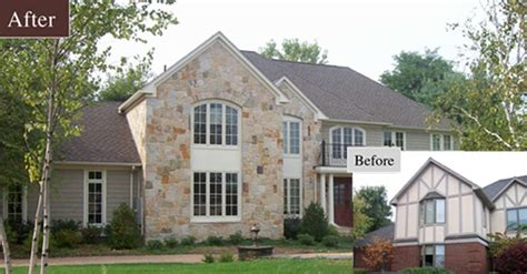 this home exterior received a remodeling face lift updating the previous tudor style to a more